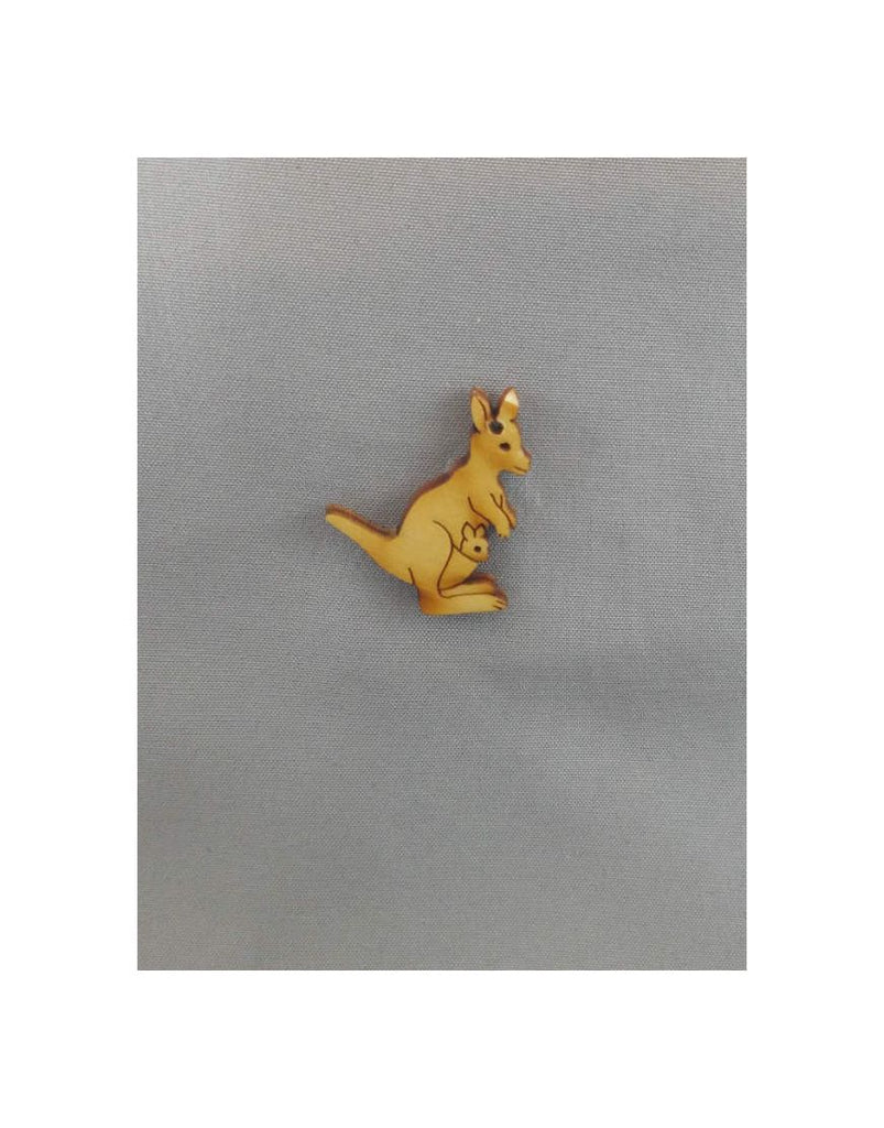 Wood Brooch Kangaroo