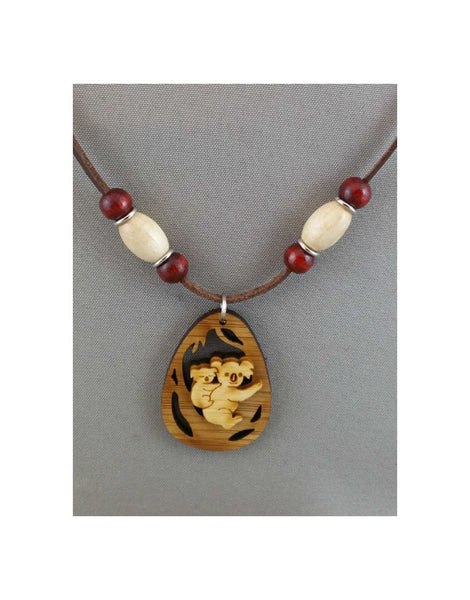 Leather Necklace Koala Oval