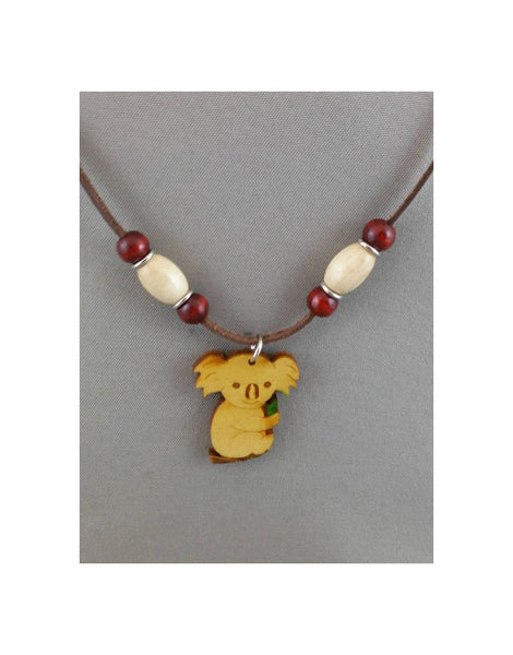 Leather Necklace Koala Leaf(Branch)