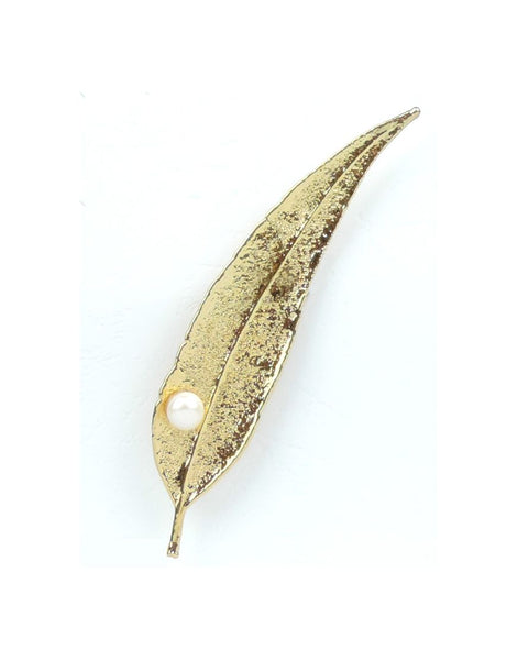 Brooch Pearl Wht RedGum Gold