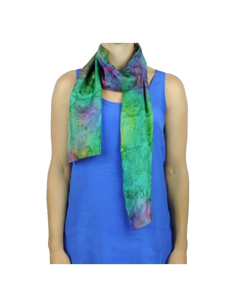 Long Opal GreenFire Silk Scarf