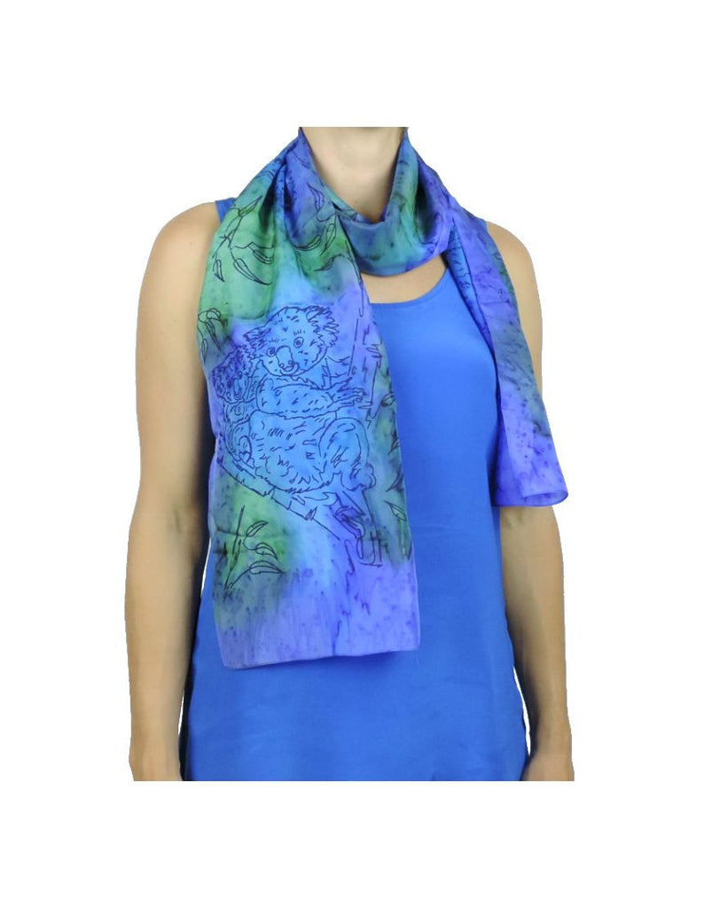 Long Koala BluGreen Silk Scarf