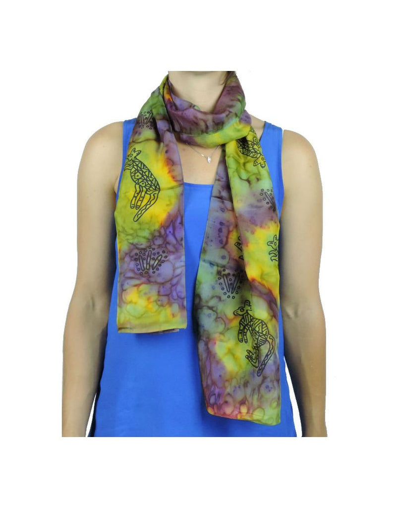 Long Ab WinterGold Silk Scarf
