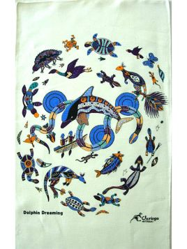 Dolphin Dreaming Aboriginal Tea Towel