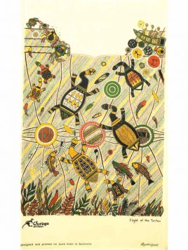 Flight of the Turtle Aboriginal Tea Towel