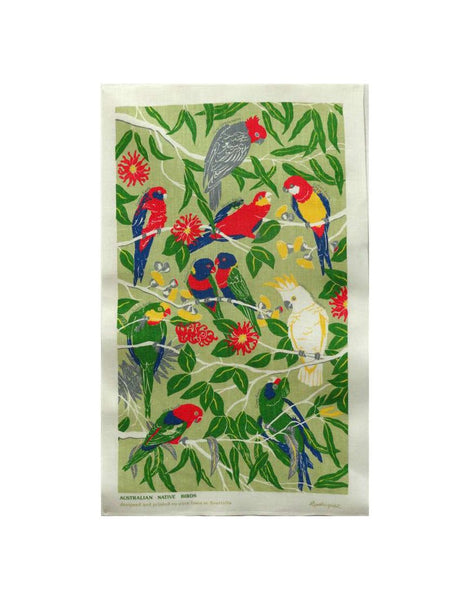 Native Birds Tea Towel