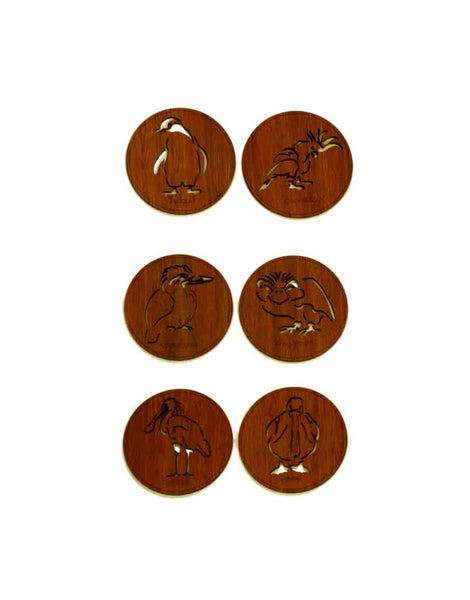 Coasters Birds Round Timber