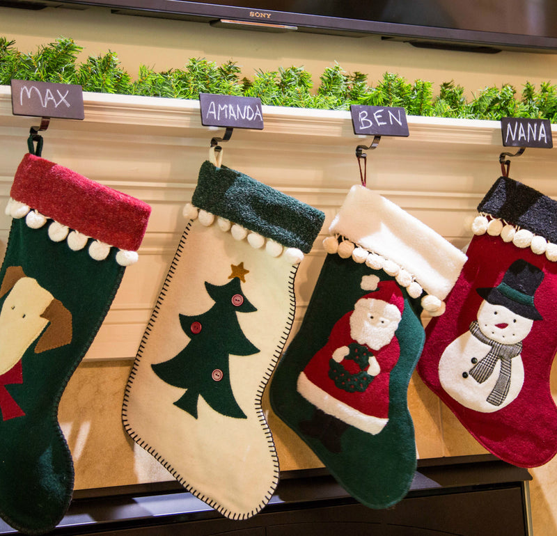 Christmas Stocking Mantle Holders with Nameplates (4 pk)