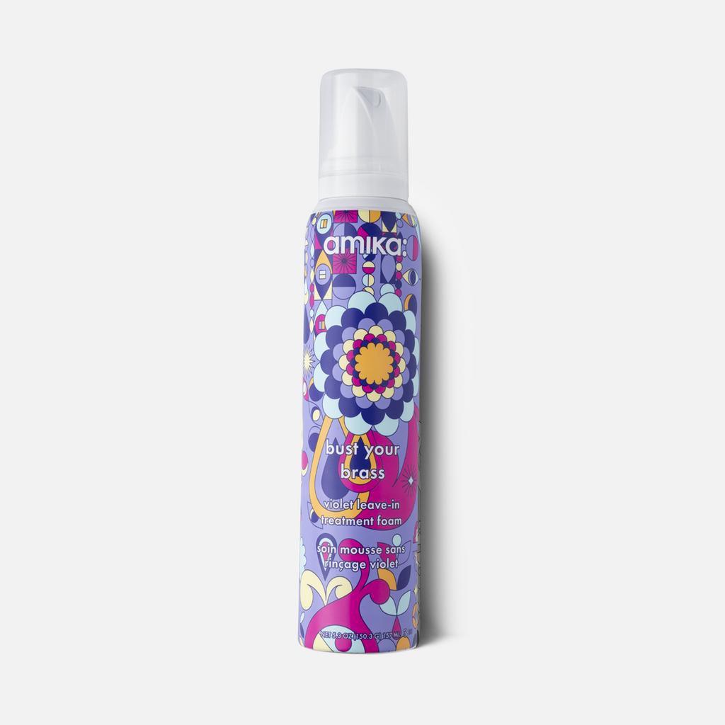 amika: Bust Your Brass Violet Leave In Treatment Foam - Done Hair Skin and Nails