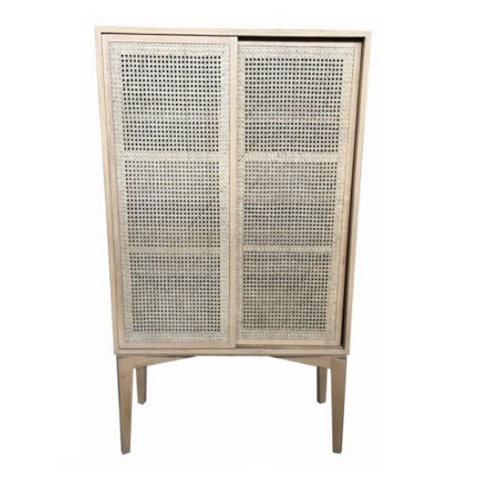 Natural Oak and Rattan Cabinet Tall