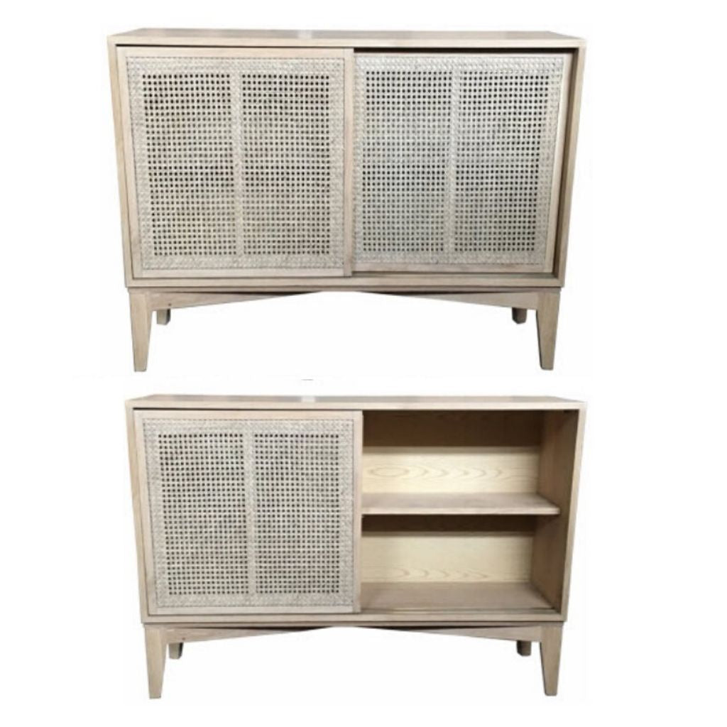 Natural Oak and Rattan Cabinet