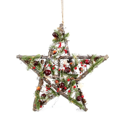 DD Filbert Timber Hanging Star  With 10 LED