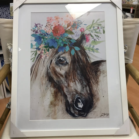 Framed CF Horse with Floral Garland Art Work