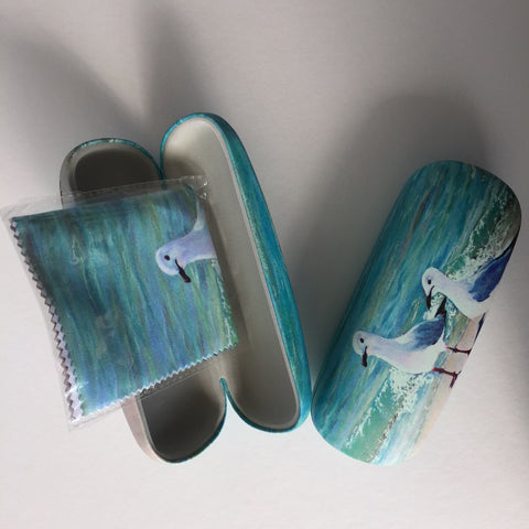 Glasses Case with Microfiber Cloth Seagulls