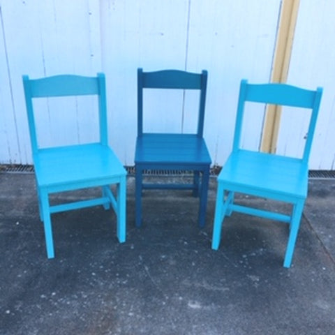 Chairs (3) Aqua Teal Wooden