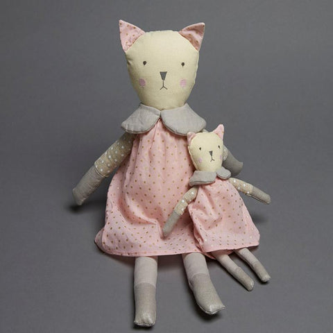 Rattle Cat with Pink Dress
