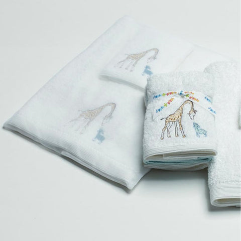 Towel Set Blue Giraffe