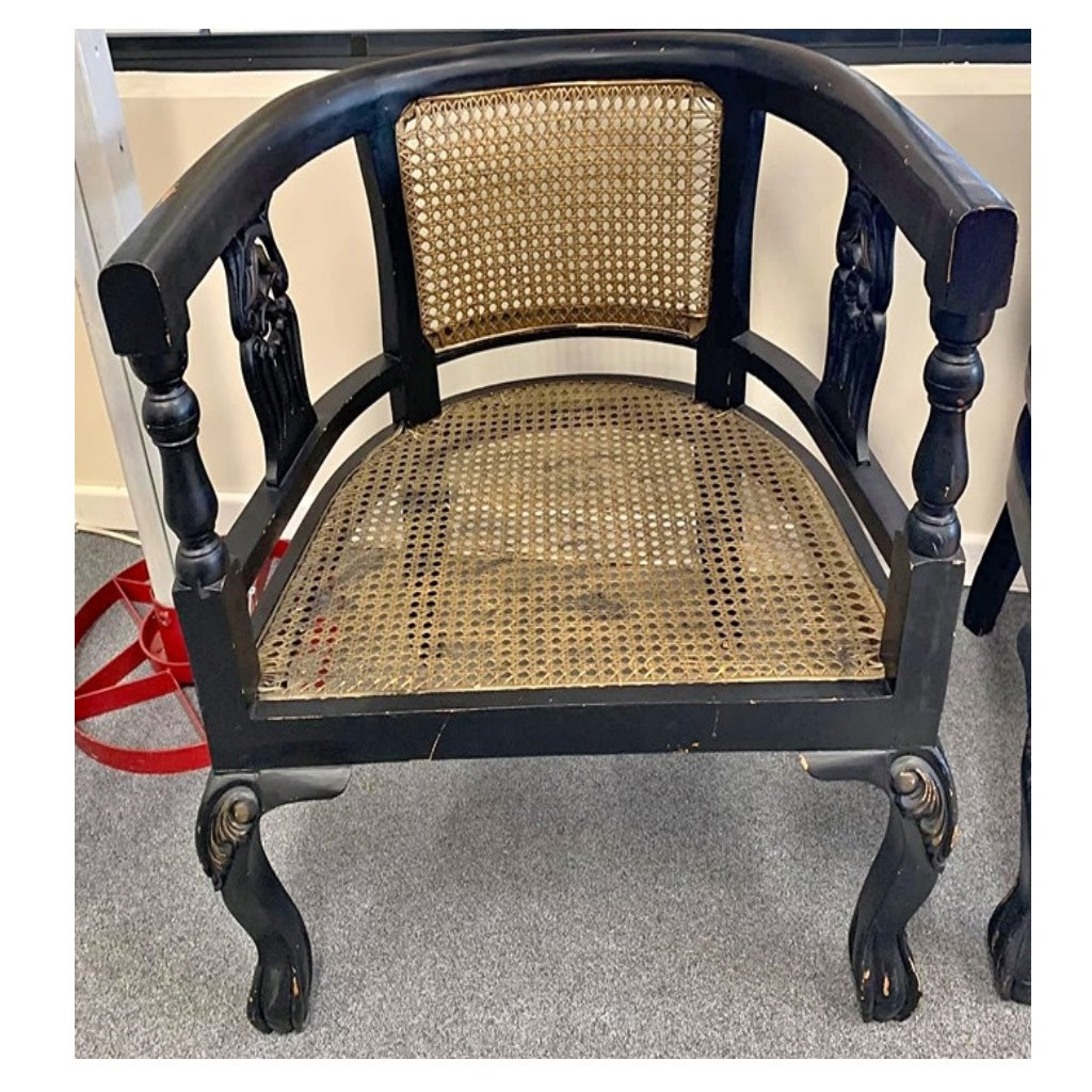 Black Chippendale Style Armchair
