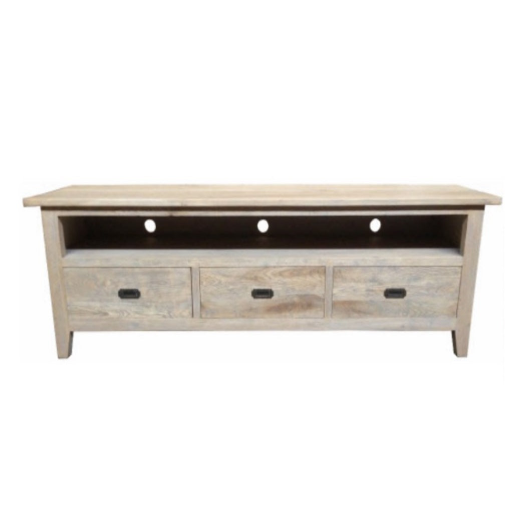 Hampton Oak Grey Washed 3D TV Unit