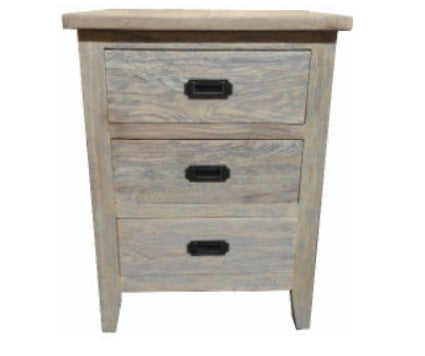 Hampton Oak Grey Washed 3D Bedside