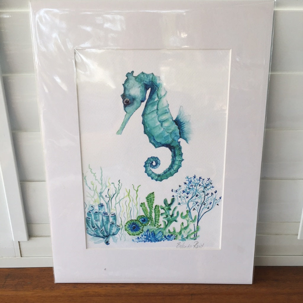 CD Mat Board with Print Seahorse Floral Garden