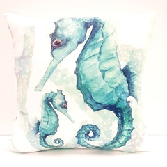 Cushion & Insert CD Aqua Seahorse and Baby
