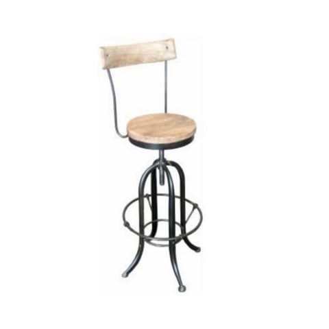 Timber and Iron Stool with Back