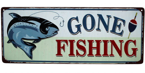 Sign Metal Gone Fishing