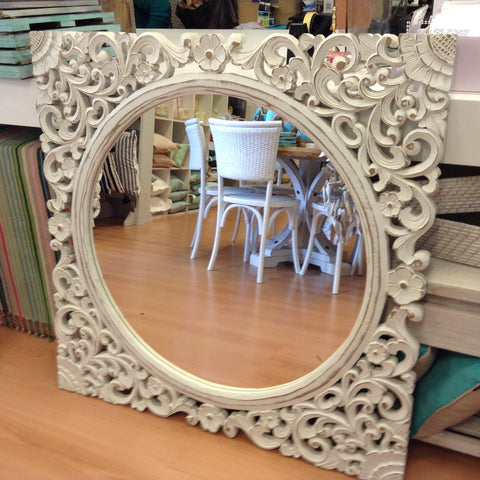 Mirror Frangipani White Washed Hand Carved