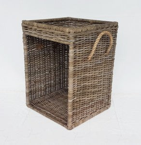 Side Table Wood Basket