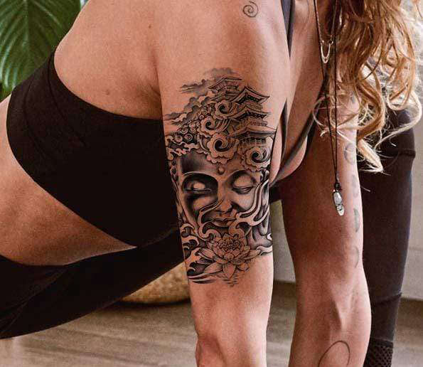 Tatouage Bouddha<br> Temple Fleur de Lotus - [variant_title]