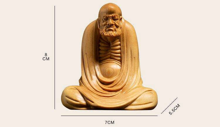Statue Bouddha<br> Bodhidharma assis bois naturel - [variant_title]