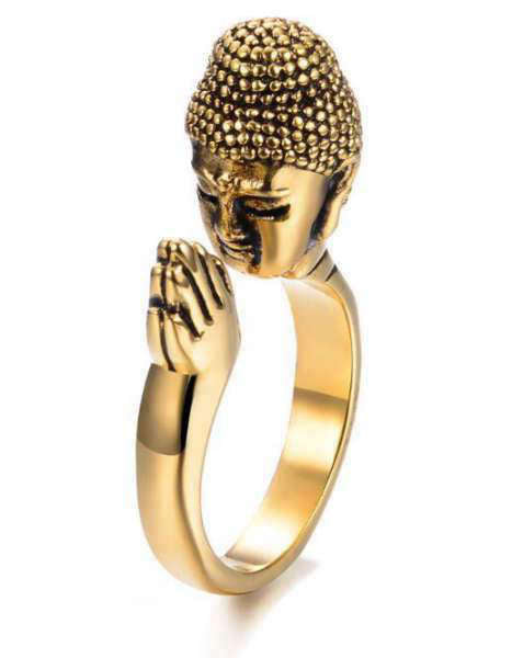 Bague Bouddha<br> Méditation Bouddhiste - 6 / Or