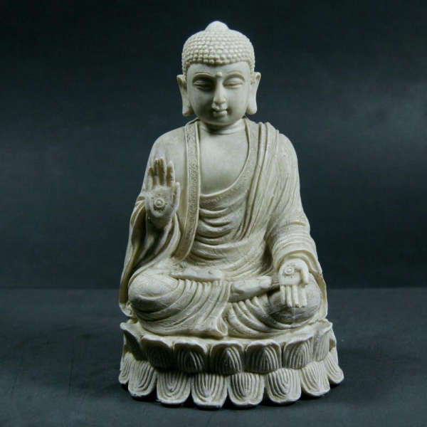 Statue Bouddha<br> de protection assis fleur de lotus - [variant_title]