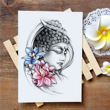 Tatouage Bouddha<br> Fleur de Lotus Rose - [variant_title]