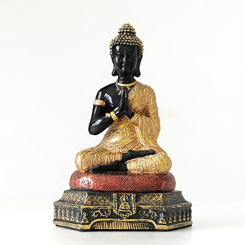 Buddha Statues Thailand for Garden office home Decor Desk ornament fengshui hindu sitting Buddha figurine Decoration - Gold with Black