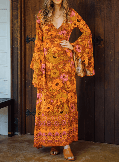Long Bell Sleeve Floral Maxi Dress