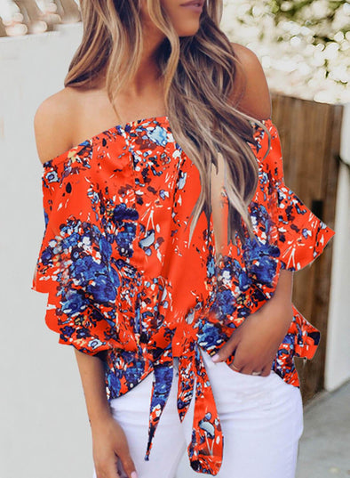 Off The Shoulder Floral Front Knot Blouse