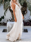 V Neck Open Back Lace White Maxi Dress