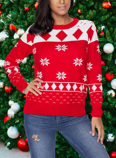 Round Neck Casual Christmas Sweaters