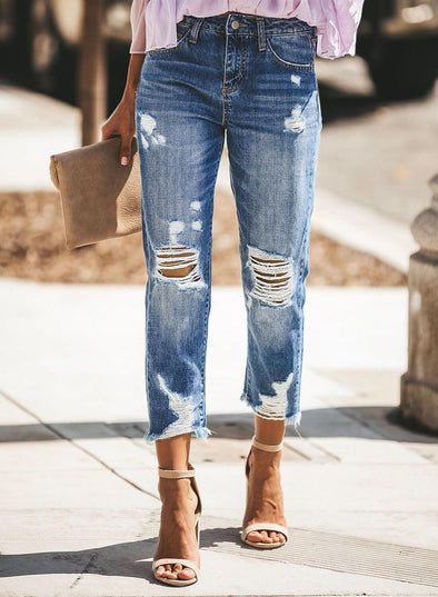Distressed Knee Ripped Cropped  Denim Jeans