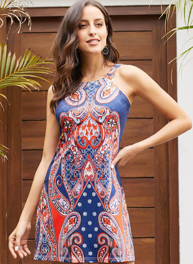 Navy Coral Bohemian Racerback Dress(LC220354-5-1)