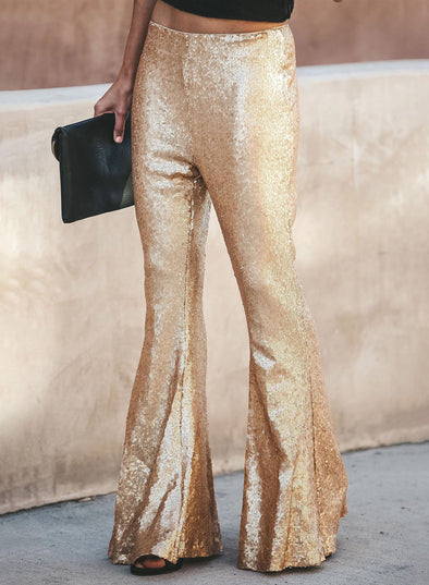 Causual High Waist Sequin Bell-Bottoms