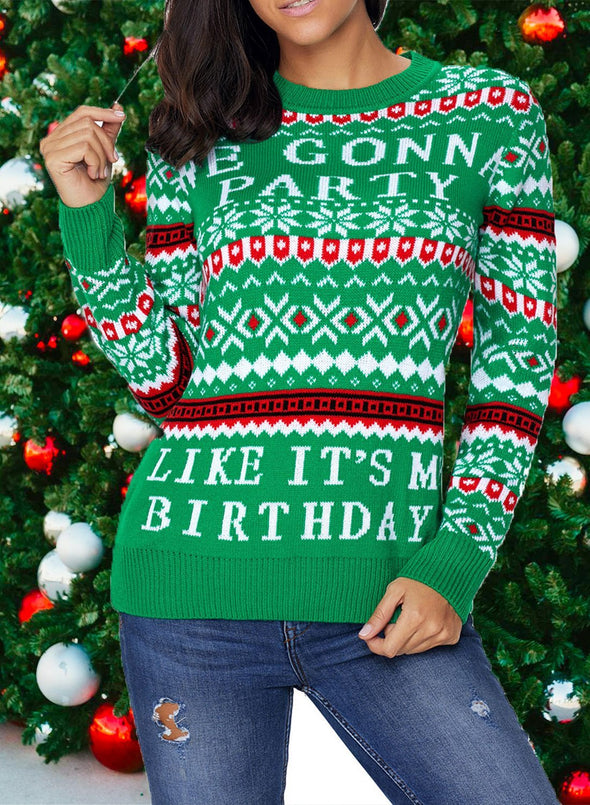 Letter Print Christmas Sweater
