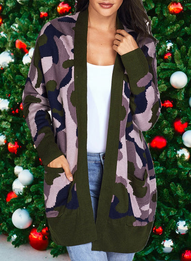 Army Green Sweater Cardigan with Pockets