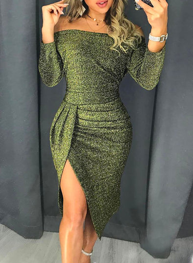 Glitter Fabric Off Shoulder Midi Dress