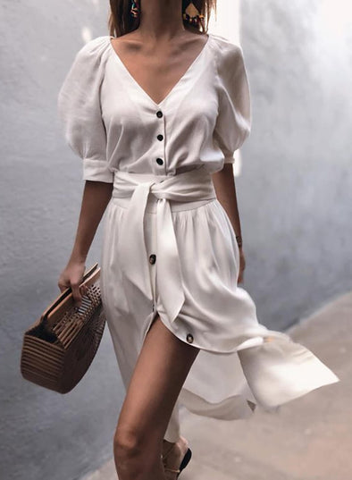 Puff Sleeve Single Breasted Waist Tie Dress