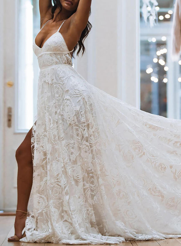 Elegant White Lace Maxi Dress