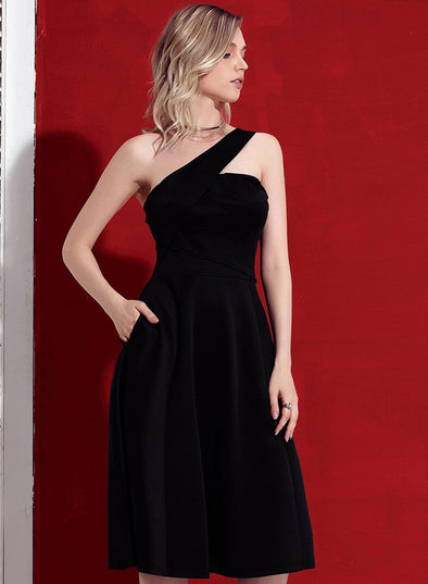 Asymmetric One Shoulder Flared Midi Dress(LC610367-2-1)
