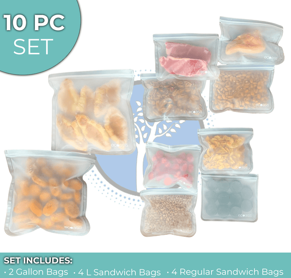 Bio-Zip™  Standard Set - Reusable & Biodegradable Food Storage Bags (10 Pc with Gallon)
